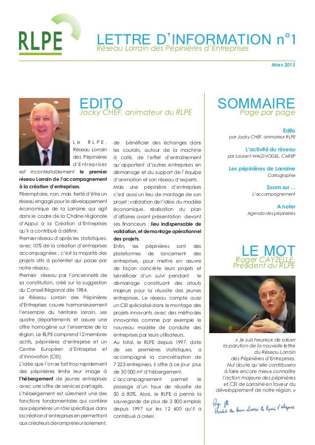 Newsletter RLPE 1er slide